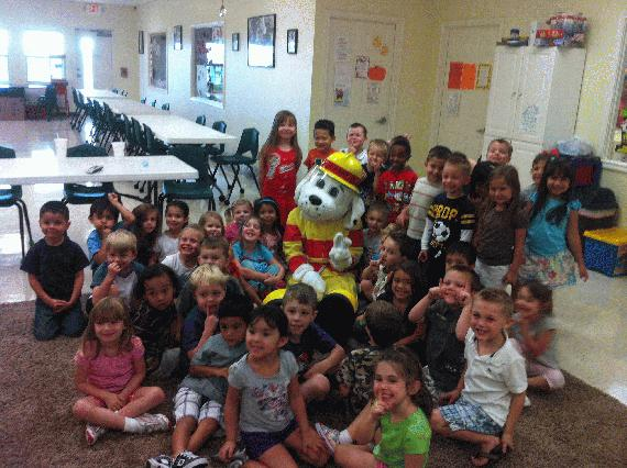 Students with Fire Prevention Mascot