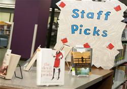 Picture of Staff Picks display with library staff recommendations