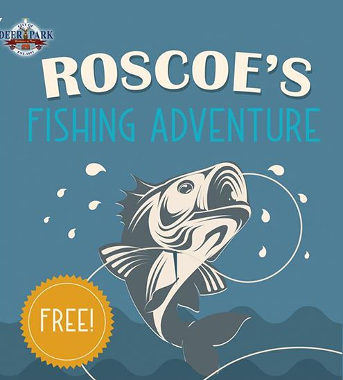 Blue background with fish, Parks and Recreation&#39s logo, and text that reads &#34Roscoe&#39s Fishi