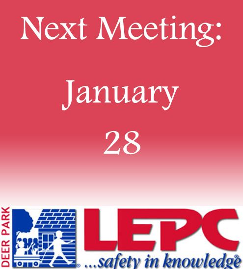 "Decorative - LEPC logo and text that reads ""Next Meeting: January 28"