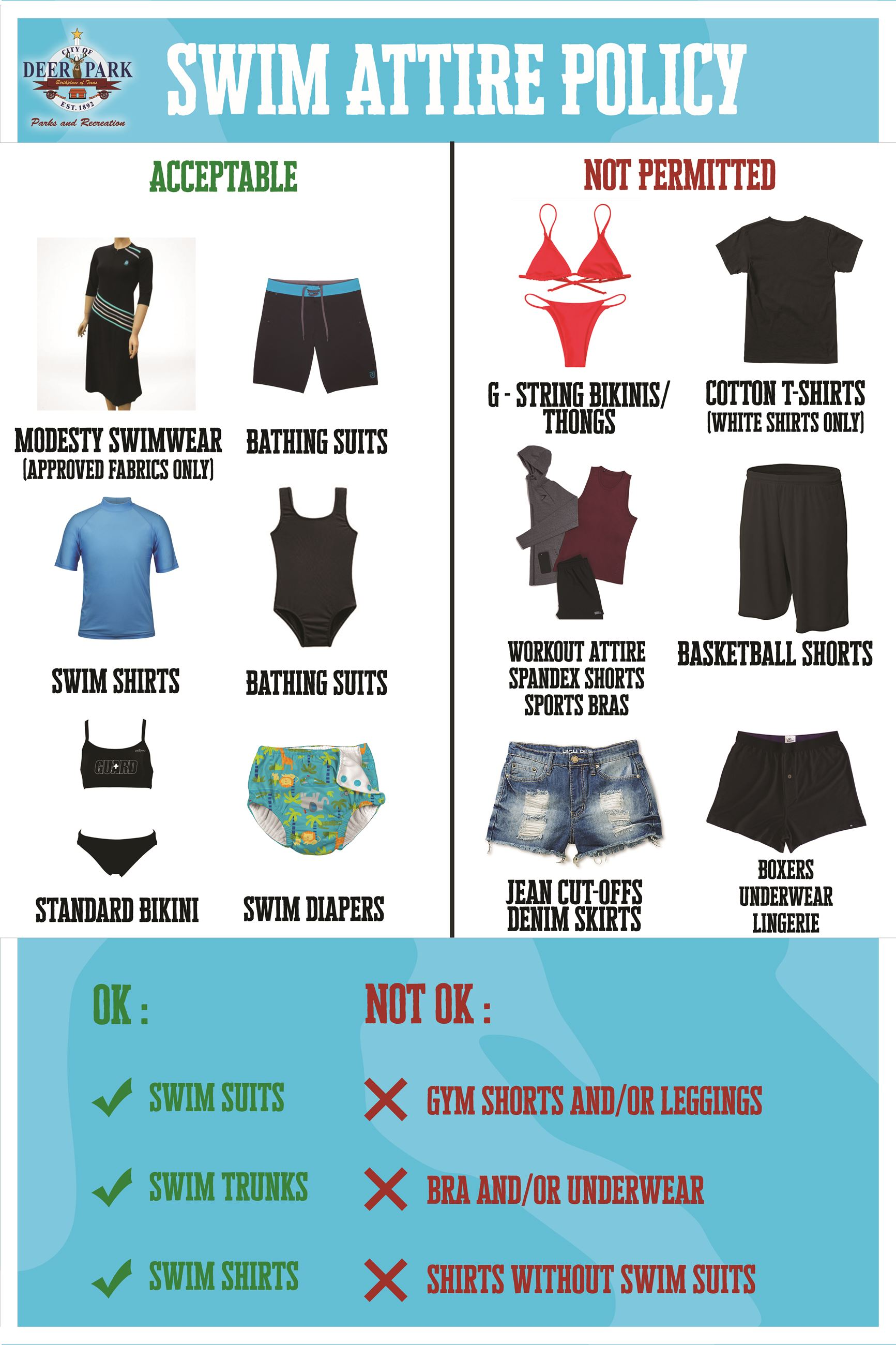Swim Attire policy graphic with text saying swim suits, swim trunks, and swim shirts are approved pool attire.