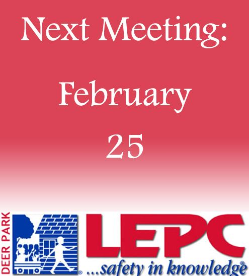 "LEPC logo with text that reads ""Next Meeting Date February 25"" - decorative"