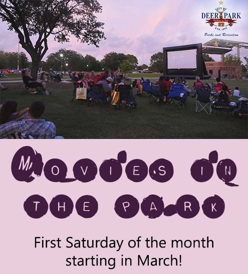 Text reads &#34Movies in the Park first Saturday of each month starting in March&#34 - photo of fami