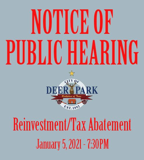 Notice of Public Hearing - Reinvestment-Tax Abatement